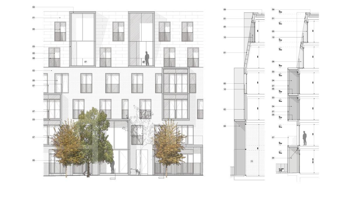 Alison Brooks Architects _ South Kilburn Estate Regeneration _ Bronte and Fielding _ Elevations