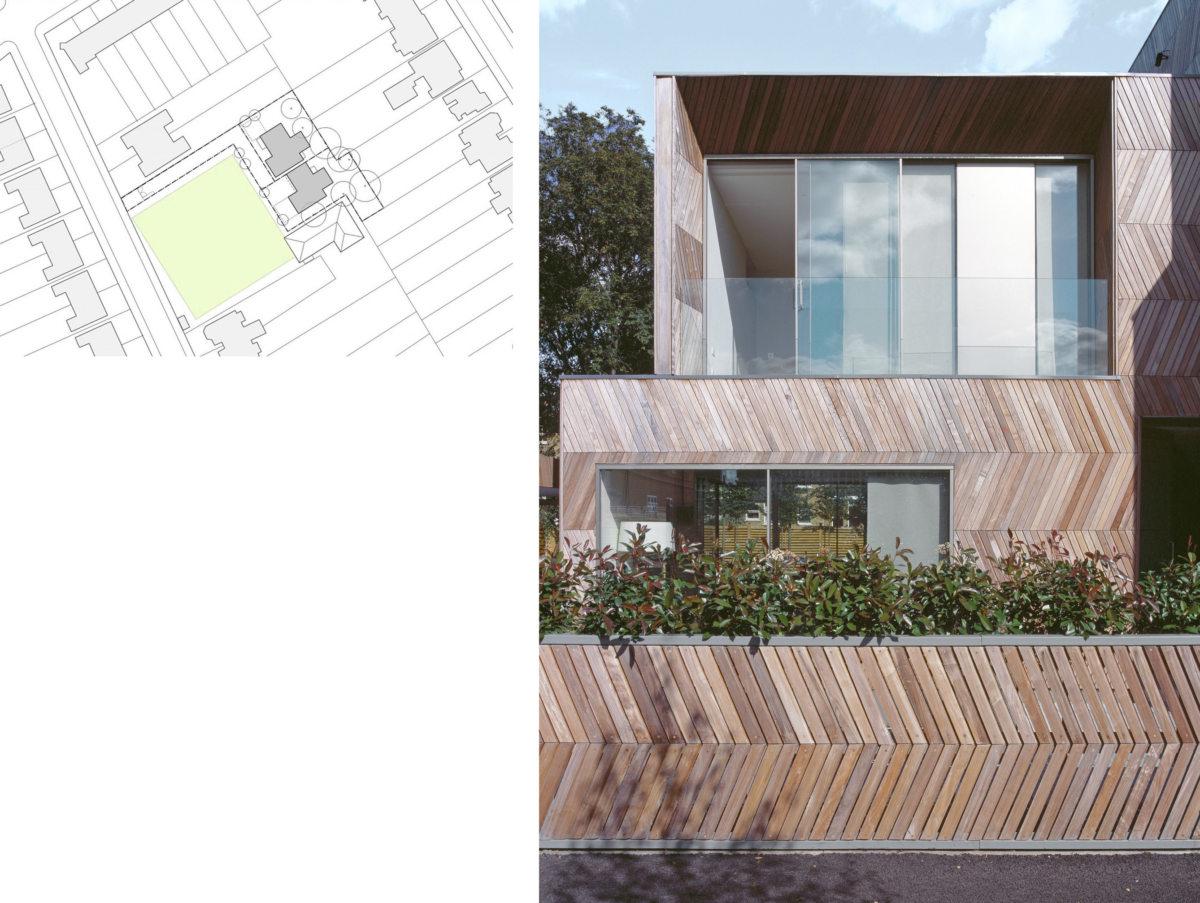 Alison Brooks Architects _ Herringbone Houses _ Photo Exterior Front Facade _ Location Plan 1