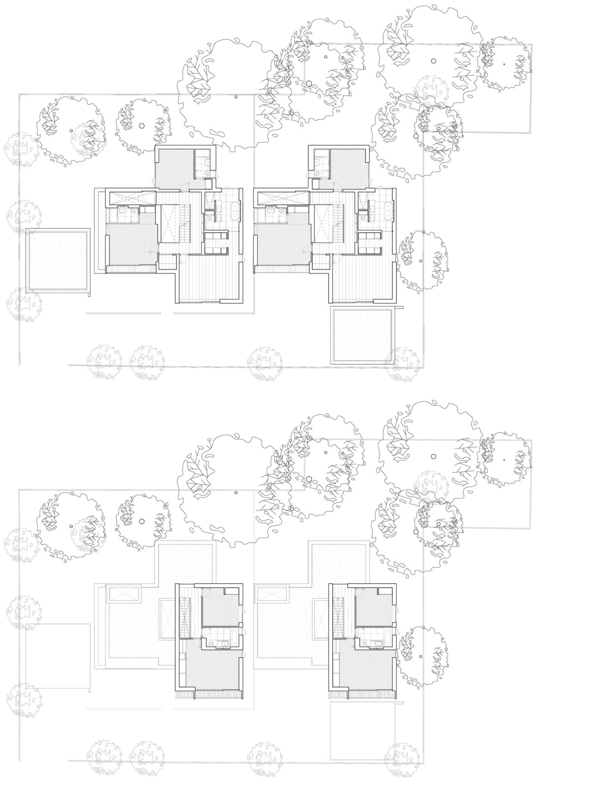 Alison Brooks Architects _ Herringbone Houses _ Plans First and Second