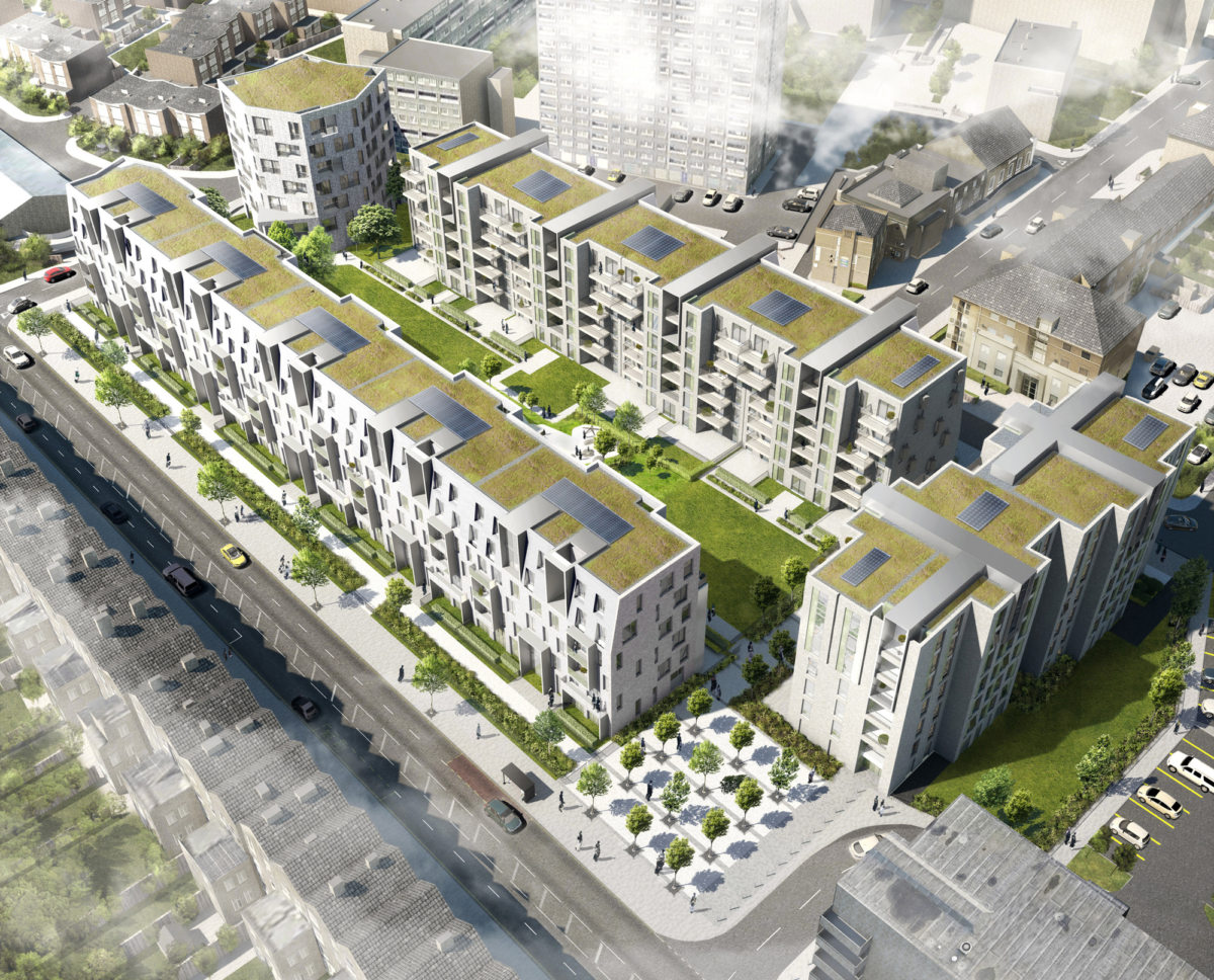 Alison Brooks Architects _ South Kilburn Estate Regeneration _ Bronte and Fielding _ Rendering Aerial 5