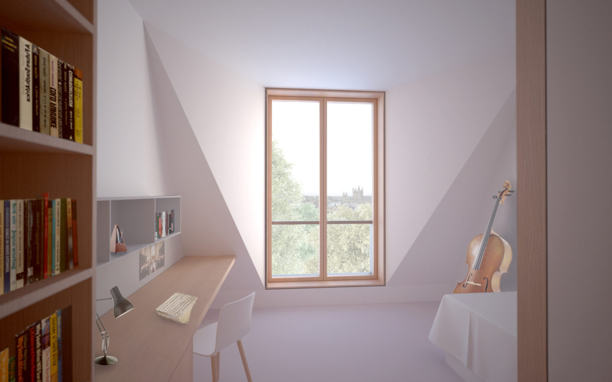 Alison Brooks Architects _ New College _ Oxford _ Rendering Interior Student Room Flared Dormer