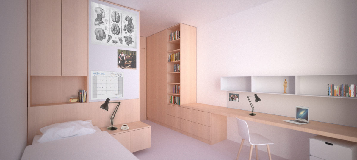 Alison Brooks Architects _ New College _ Oxford _ Rendering Interior Student Room Typical Bed