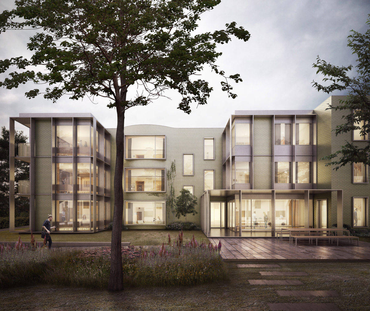 Alison Brooks Architects _ Churchill College Graduate Residences _ Cambridge _ Visualisation Exterior Front Court