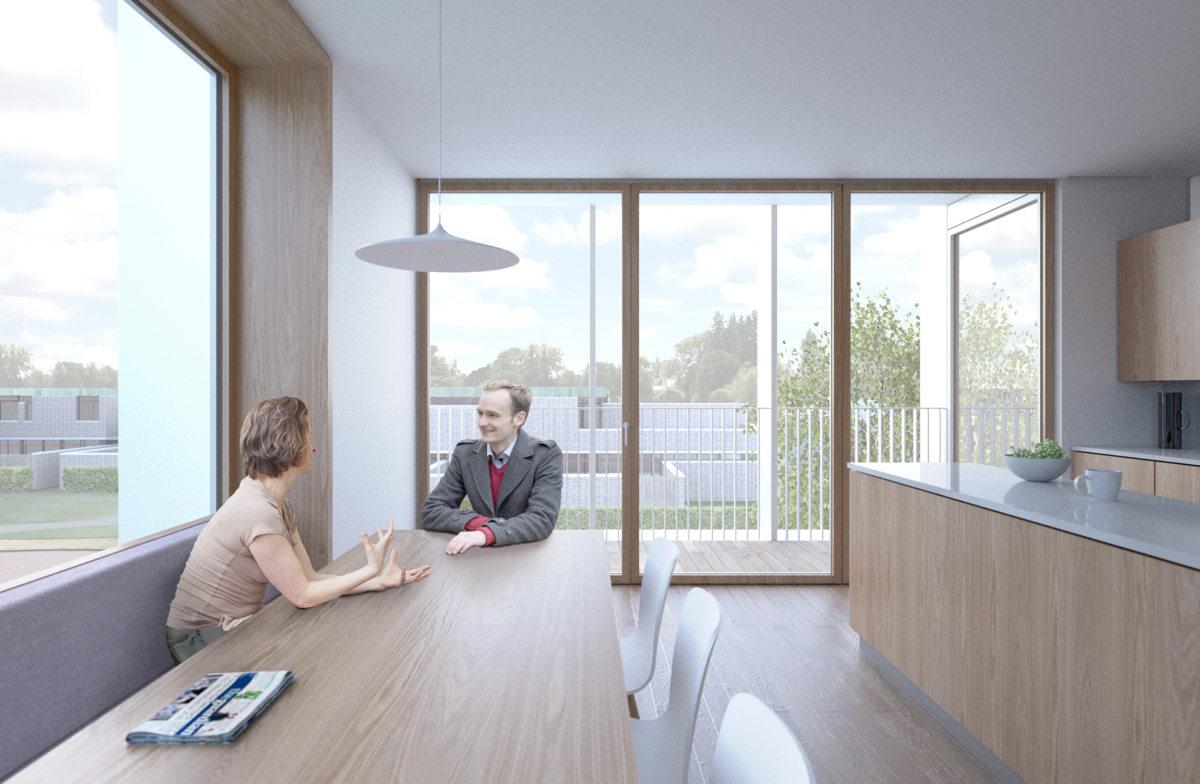 Alison Brooks Architects _ Churchill College Graduate Residences _ Cambridge _ Visualisation Interior Kitchen