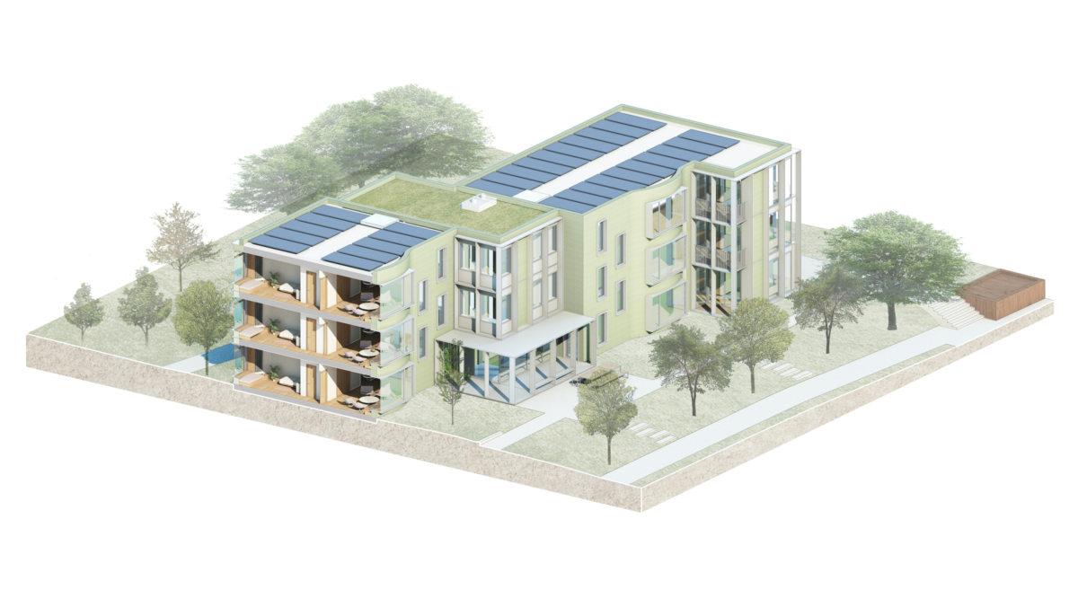 Alison Brooks Architects _ Churchill College Graduate Residences _ Cambridge _ Cutaway Axo