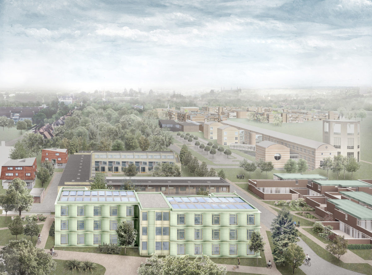 Alison Brooks Architects _ Churchill College Graduate Residences _ Cambridge _ Visualisation Aerial 3