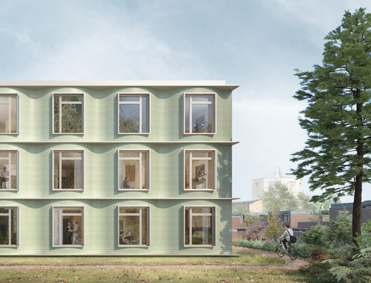 Alison Brooks Architects _ Churchill College Graduate Residences _ Cambridge _ Visualisation Exterior Back Face 1