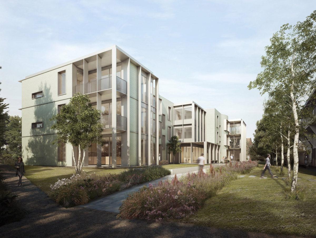 Alison Brooks Architects _ Churchill College Graduate Residences _ Cambridge _ Visualisation Exterior Front Court Oblique 1