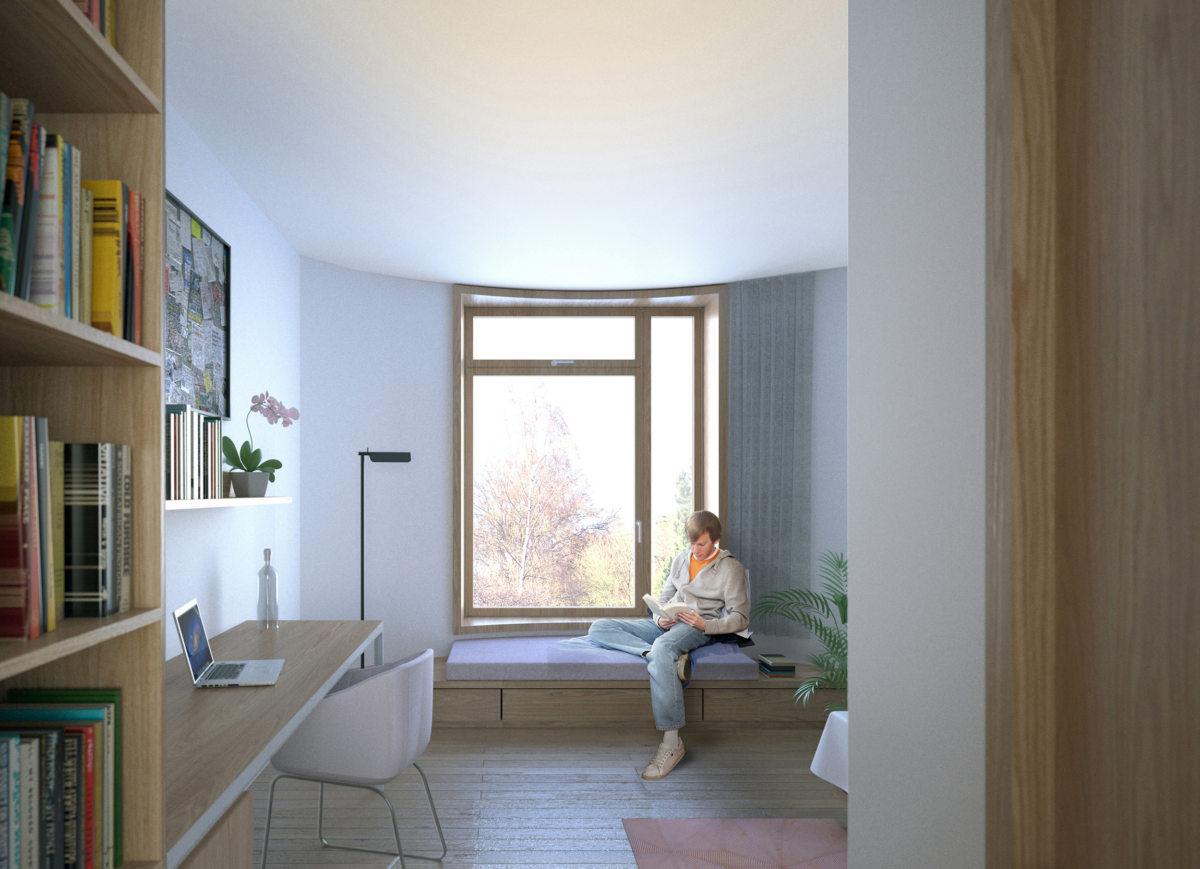 Alison Brooks Architects _ Churchill College Graduate Residences _ Cambridge _ Visualisation Interior Bedroom 3